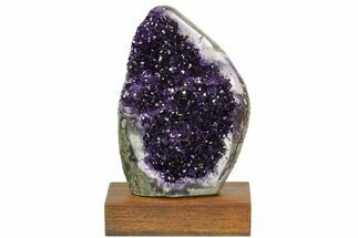 "7.7"" Tall, Dark Purple Amethyst Cluster On Wood Base - Uruguay For Sale, #121250"