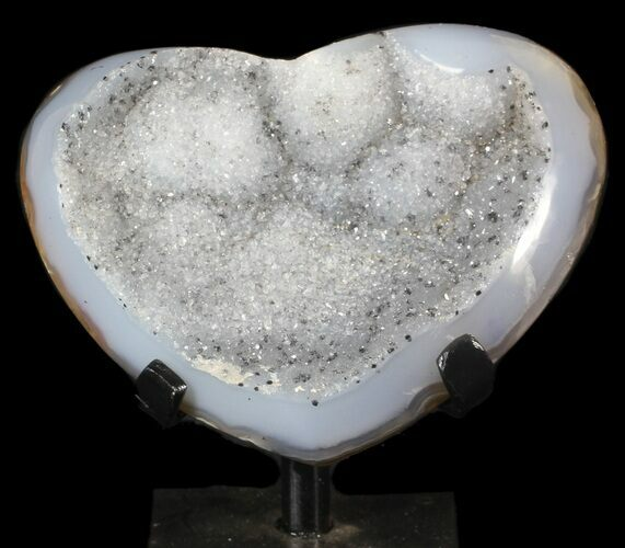 "4.3"" Polished, Agate Heart Filled with Druzy Quartz - Uruguay"