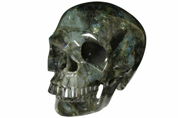 "8.9"" Realistic, Hollowed-Out Polished Labradorite Skull - Sale Price"