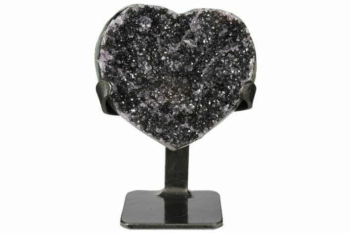"4.8"" Quartz/Amethyst Crystal Heart with Metal Stand - Uruguay"