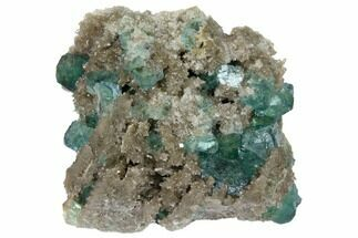 "Buy 3"" Green Fluorite Crystals on Quartz - China - #128563"