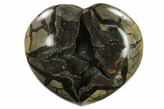 "Buy 9.2"" Polished Septarian Geode Heart - Black Crystals - #134440"