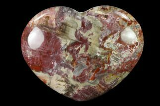 "4"" Polished Triassic Petrified Wood Heart - Madagascar For Sale, #139934"