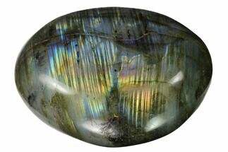 "3.2"" Flashy, Polished Labradorite Palm Stone - Madagascar For Sale, #142820"