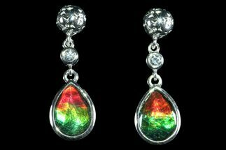 Ammolite Earrings with Sterling Silver and White Sapphires For Sale, #143582