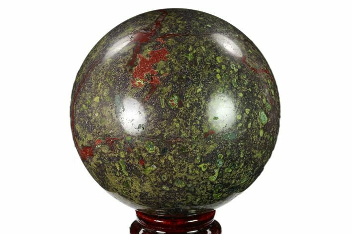 "3.6"" Polished Dragon's Blood Jasper Sphere - South Africa"