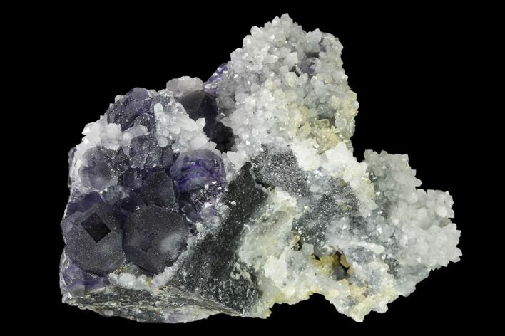 "3.7"" Cuboctahedral Fluorite Crystals with Pyrite on Quartz - China"