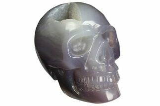 "Buy 4.1"" Polished Agate Skull with Druzy Quartz Crystal Pocket  - #148105"