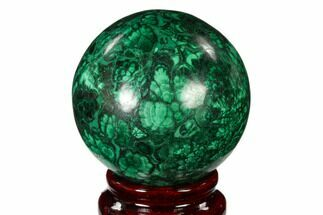 "2.2"" Flowery, Polished Malachite Sphere - Congo For Sale, #150233"