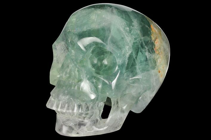 "5"" Realistic, Carved Green Fluorite Skull - Fluorescent!"