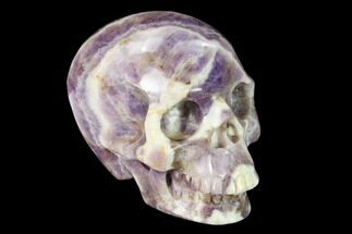 "Buy 3"" Realistic, Carved Chevron Amethyst Skull  - #150973"