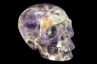 "Buy 3"" Realistic, Carved Chevron Amethyst Skull  - #150964"