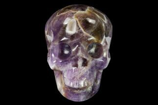 "3"" Realistic, Carved Chevron Amethyst Skull  For Sale, #150971"
