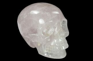 "3"" Realistic, Polished Brazilian Rose Quartz Crystal Skull For Sale, #151067"