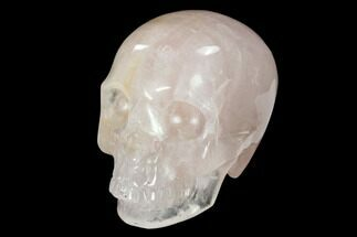 "3"" Realistic, Polished Brazilian Rose Quartz Crystal Skull For Sale, #151079"