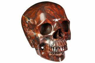 "5"" Realistic, Polished Red Picture Jasper Skull  For Sale, #151190"