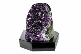 "Buy 5.1"" Tall Dark Purple Amethyst Cluster With Wood Base  - Uruguay - #153532"