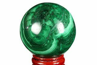 "1.9"" Flowery, Polished Malachite Sphere - Congo For Sale, #157268"