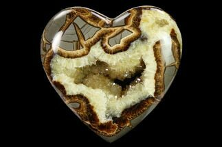 "Buy 4"" Polished, Utah Septarian Heart - Beautiful Crystals - #160177"