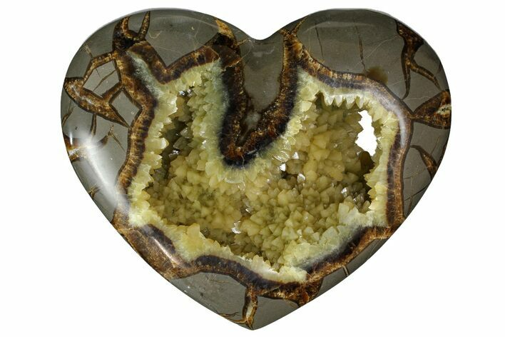 "5.1"" Polished Utah Septarian Heart - Beautiful Crystals"
