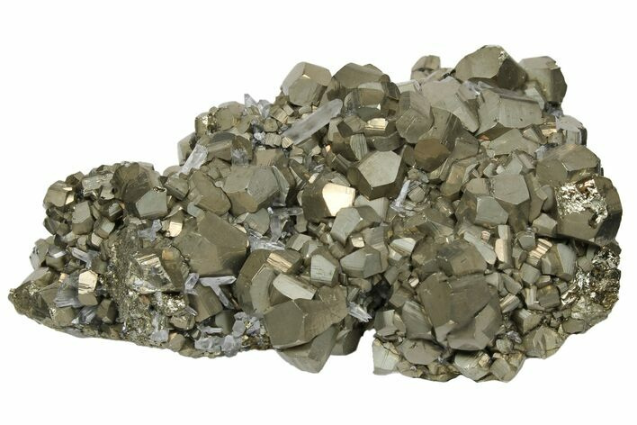 "3.5"" Pyrite Crystal Cluster with Quartz - Peru"