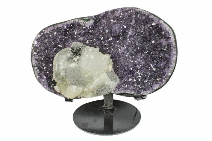 "6.4"" Amethyst Geode Section With Calcite On Metal Stand - Uruguay"