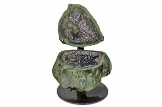 "Buy 7"" Dark Purple Amethyst ""Jewelry Box"" Geode With Metal Stand - #171862"