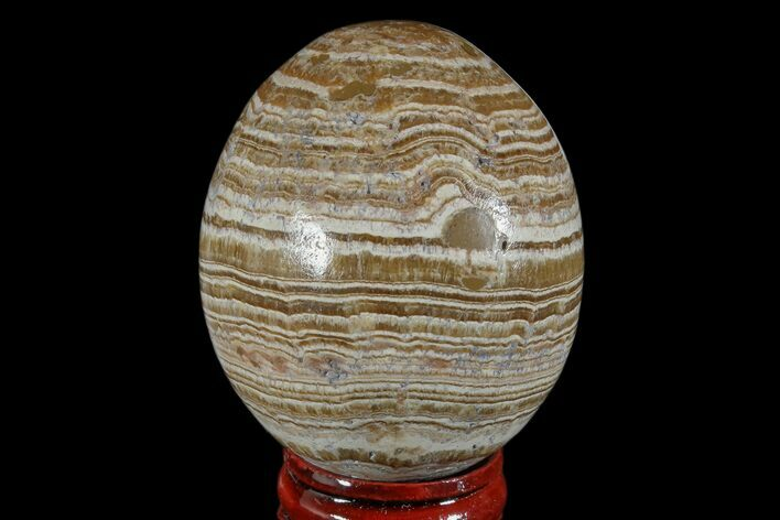 "2.3"" Polished, Banded Aragonite Egg - Morocco"