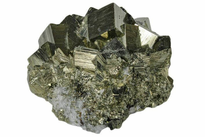 "3.2"" Shiny, Cubic Pyrite Crystal Cluster - Peru"