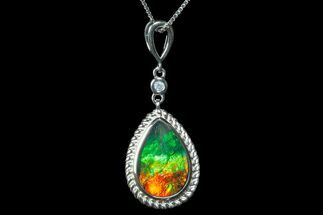Ammolite Pendant with Sterling Silver and a White Sapphire For Sale, #175220