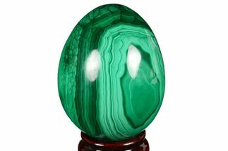 "3"" Flowery, Polished Malachite Egg - Congo For Sale, #176060"