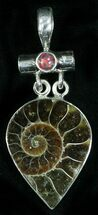 Fossil Ammonite Pendant - Sterling Silver For Sale, #12059